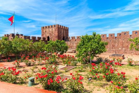 Roses blooming in gardens of Silves castle, Algarve region, Portugal