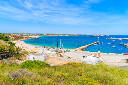 View of fishing port in Sagres town on coast of Portugal in Algarve region