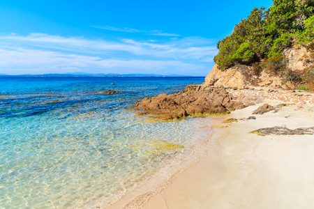 secluded: Beautiful sandy Grande Sperone beach with crystal clear azure sea water, Corsica island, France