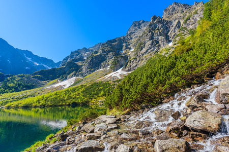 morskie: Waterfall at Morskie Oko lake in Tatra Mountains, Poland