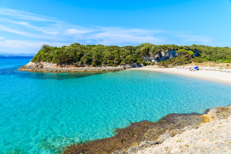 A view of idyllic Petit Sperone beach with crystal clear turquoise sea water, Corsica island, France