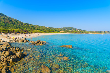 A view of paradise Bodri beach with azure sea water, Corsica island, France