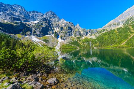 mnich: Green water of Morskie Oko lake in summer, Tatra Mountains, Poland Stock Photo