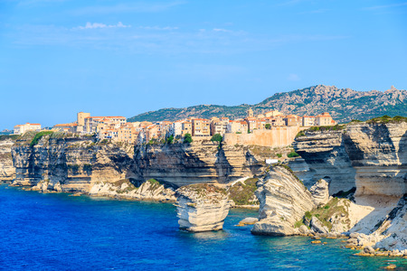 A view of Bonifacio old town built on high cliff above the sea, Corsica island, France Stock fotó - 73935572
