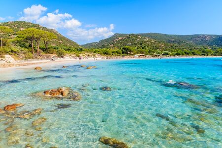 Azure crystal clear sea water of Palombaggia beach on Corsica island, France