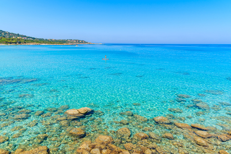 Crystal clear sea water of Bodri beach, Corsica island, France