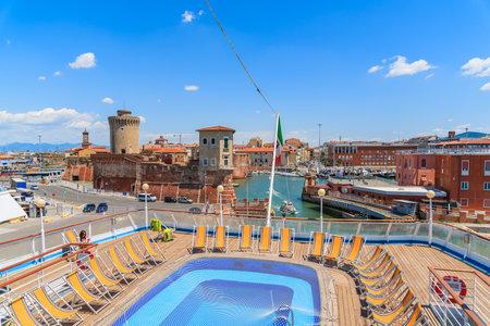 LIVORNO PORT, ITALY - JUN 21, 2015: swimming pool on ship Corsica Ferries Sardinia Regina mooring in Livorno port Editorial