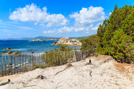 french way: Beautiful coast of Corsica island near Palombaggia beach, France