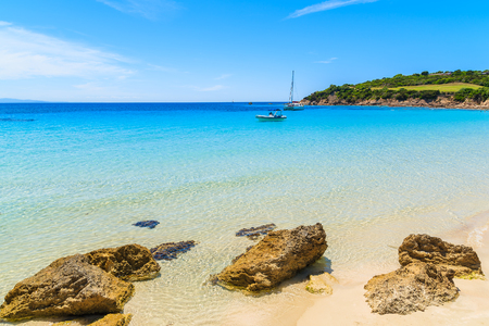 A view of idyllic Grande Sperone beach with crystal clear azure sea water, Corsica island, France