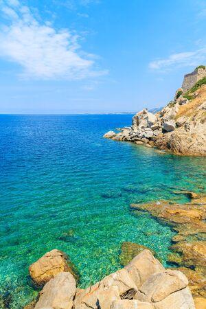 Turquoise sea water in Calvi bay, Corsica island, France