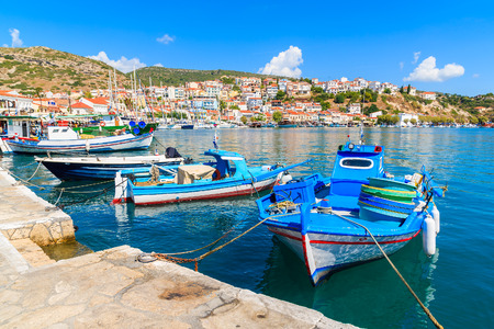 Traditional Greek fishing boats in Pythagorion port, Samos island, Greece