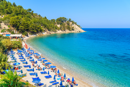 A view of Lemonakia beach with turquoise sea water, Samos island, Greece