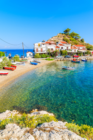 A view of Kokkari fishing village with beautiful beach, Samos island, Greece