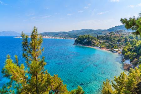 A view of Tsamadou bay with turquoise sea water, Samos island, Greece