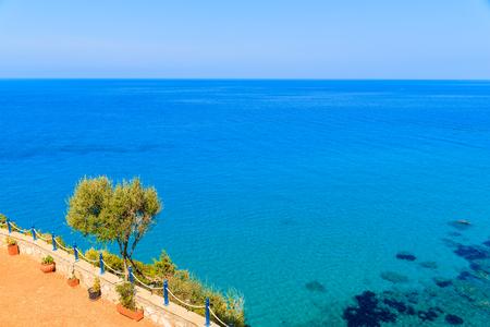 View of endless blue sea on coast of Samos island, Greece