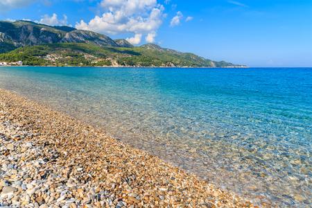 Pebble stones on Kokkari beach, Samos island, Greece