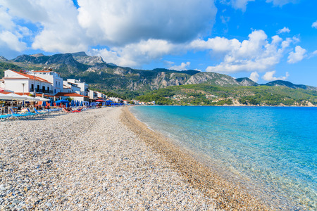 A view of beach in Kokkari village, Samos island, Greece