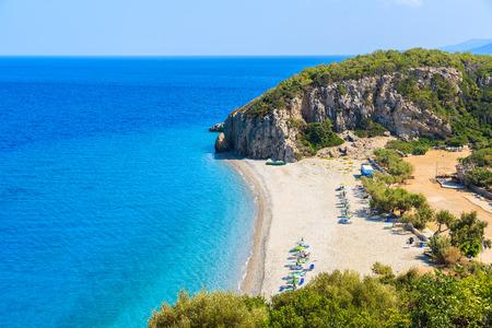 A view of Tsambou beach with azure sea water, Samos island, Greece