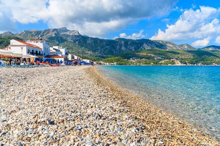 View of beach in Kokkari village, Samos island, Greece