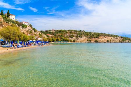 A view of Pythagorion beach, Samos island, Greece Reklamní fotografie - 73946444