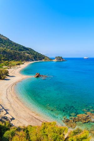 A view of Potami beach with azure sea water, Samos island, Greece