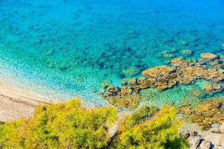 Azure sea on coast of Samos island on Potami beach, Greece
