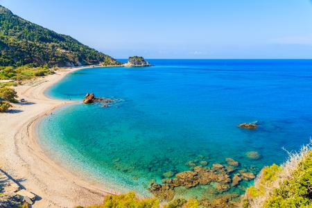 A view of Potami beach with azure sea water, Samos island, Greece