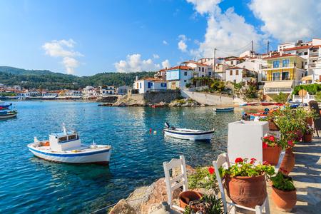 Bloemen op kust met vissersboten in Kokkari-haven, het eiland van Samos, Griekenland