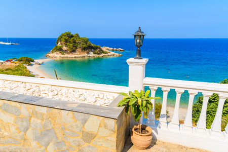 A view of Kokkari bay with beach from terrace, Samos island, Greece Stock Photo