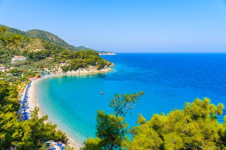 A view of Lemonakia beach with turquoise sea water, Samos island, Greece
