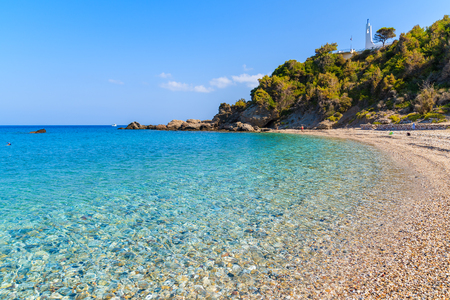 Idyllic Potami beach with turquoise crystal clear water, Samos island, Greece Stock Photo