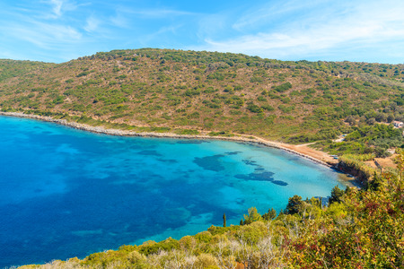 Idyllic bay with beautiful beach on coast of Samos island, Greece Stock Photo
