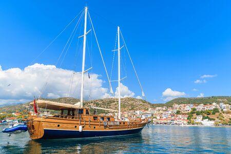 Turkish wooden gulet in Phytagorion port on Samos island, Greece
