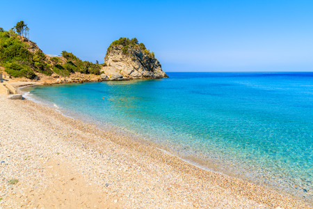 A view of Karlovasi beach with azure sea water, Samos island, Greece