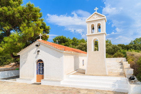 Beautiful white Greek church on Samos island, Greece