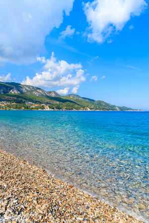 Crystal clear sea on Kokkari beach, Samos island, Greece Stock Photo