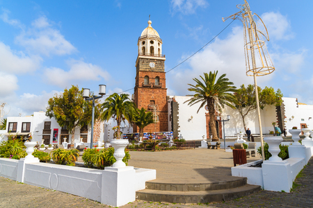 guadalupe island: TEGUISE, LANZAROTE ISLAND - FEB 15, 2015: Famous church Nuestra Senora de Guadalupe in Teguise town which is a former capital of Lanzarote, Canary Islands, Spain. Editorial