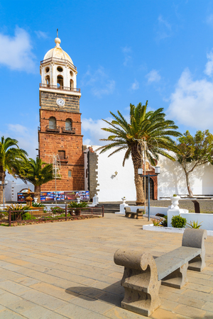 TEGUISE, LANZAROTE ISLAND - FEB 15, 2015: Famous church Nuestra Senora de Guadalupe in Teguise town which is a former capital of Lanzarote, Canary Islands, Spain. Editorial