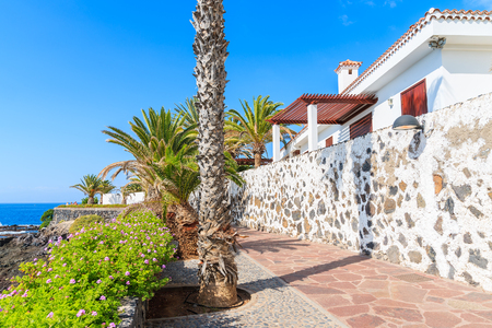 Coastal promenade along Atlantic Ocean in Alcala village, Tenerife, Canary Islands, Spain