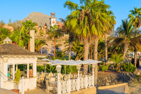 A view of cafe building on El Duque beach on southern coast of Tenerife, Canary Islands, Spain Stock Photo