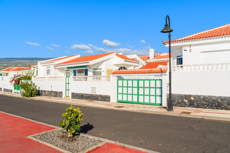 Street with typical Canarian style apartments in San Juan town, Tenerife, Canary Islands, Spain