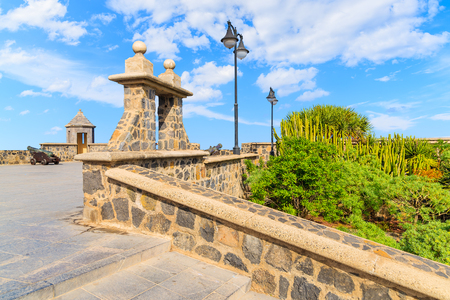 Fortress building on coastal promenade in Puerto de la Cruz town, Tenerife, Canary Islands, Spain Stock Photo