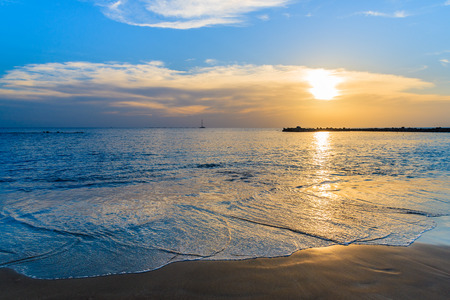 A view of El Duque beach at sunset time, Tenerife, Canary Islands, Spain