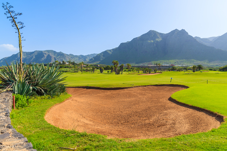 View of golf course in nothern part of Tenerife island, Spain
