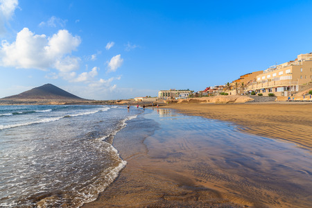 A view of beautiful sandy El Medano beach in early morning sunlight, Tenerife, Canary Islands, Spain