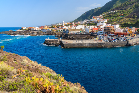 View of Garachico town and ocean on northern coast of Tenerife island, Spain