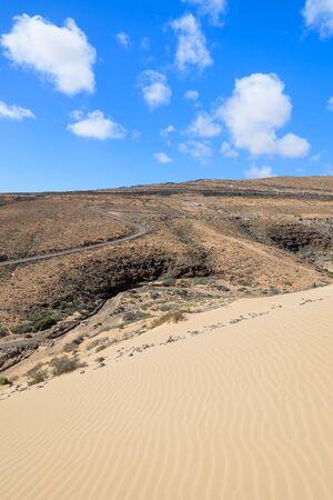 Desert landscape and sand dune on Sotavento beach on Jandia peninsula, Fuerteventura, Canary Islands, Spain