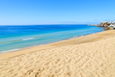 Morro Jable sandy beach on coast of Jandia peninsula, Fuerteventura, Canary Islands, Spain