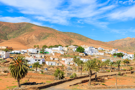 View of volcanic mountains and Pajara village in countryside landscape of Fuerteventura, Canary Islands, Spain 스톡 콘텐츠