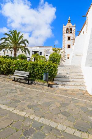 Steps to beautiful cathedral Santa Maria de Betancuria Fuerteventura, Canary Islands, Spain Stock Photo